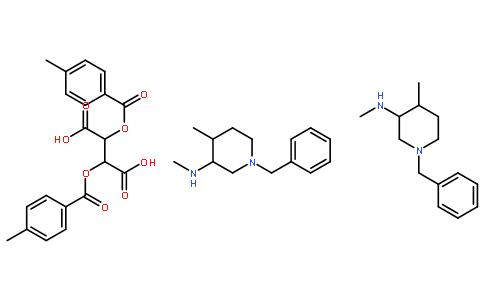 (2R,3R)-2,3-双[(4-甲基苯甲酰基)氧基]丁二酸和 (3R,4R)-N,4-二甲基-1-(苯基甲基)-3-哌啶胺的化合物