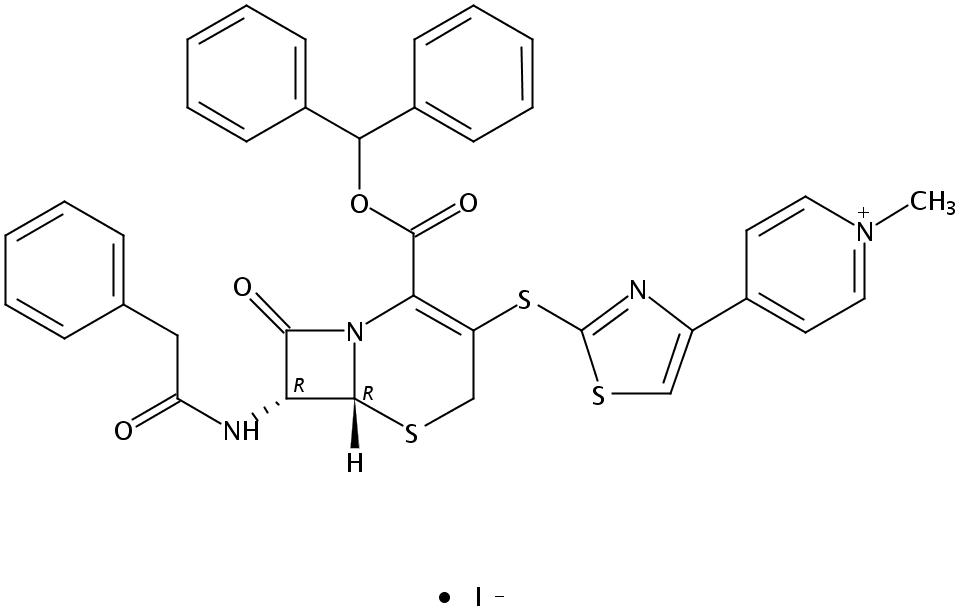 7β-[(苯乙酰)氨基]-3-[4-(1-甲基-4-吡啶鎓)-2-噻唑硫基]-3-头孢烯-4-羧酸二苯甲酯碘化物