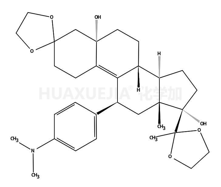 (5a,11b)-11-(4-(二甲基氨基)苯基)-5,17-二羥基-19-去甲基雄甾-9-烯-3,20-二酮雙(1,2-乙二醇)環縮醛