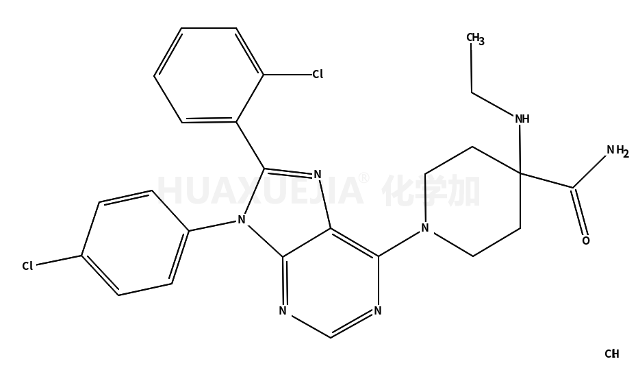 4-Piperidinecarboxamide, 1-[8-(2-chlorophenyl)-9-(4-chlorophenyl)-9H-purin-6-yl]-4-(ethylamino)-, hydrochloride (1:1)