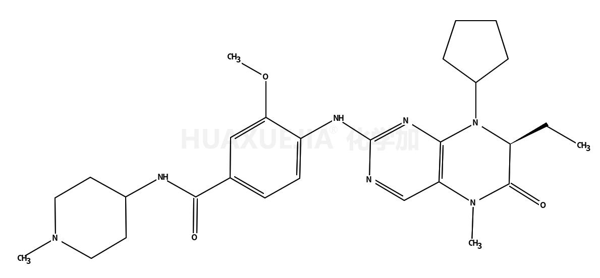 4-[[(7R)-8-环戊基-7-乙基-5,6,7,8-四氢-5-甲基-6-氧代-2-喋啶基]氨基]-3-甲氧基-N-(1-甲基-4-哌啶基)苯甲酰胺